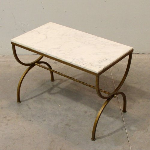 French Marble And Gilded Wrought Iron Side Table, 1940s Inside Strasburg Blossoming Decorative Iron Garden Benches (View 18 of 20)