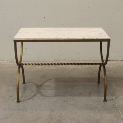 French Marble And Gilded Wrought Iron Side Table, 1940s Pertaining To Strasburg Blossoming Decorative Iron Garden Benches (View 19 of 20)