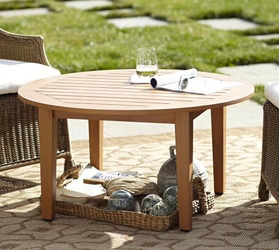 Hampstead Teak Round Coffee Table | Pottery Barn Within Hampstead Teak Garden Benches (View 19 of 20)
