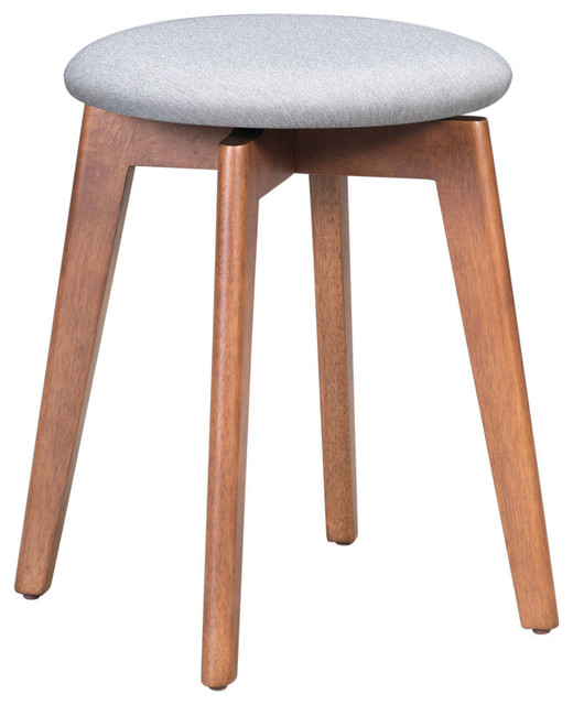 Indoor Billy Accent Stool With Walnut And Light Gray Finish 100976 Pertaining To Bracey Garden Stools (View 15 of 20)