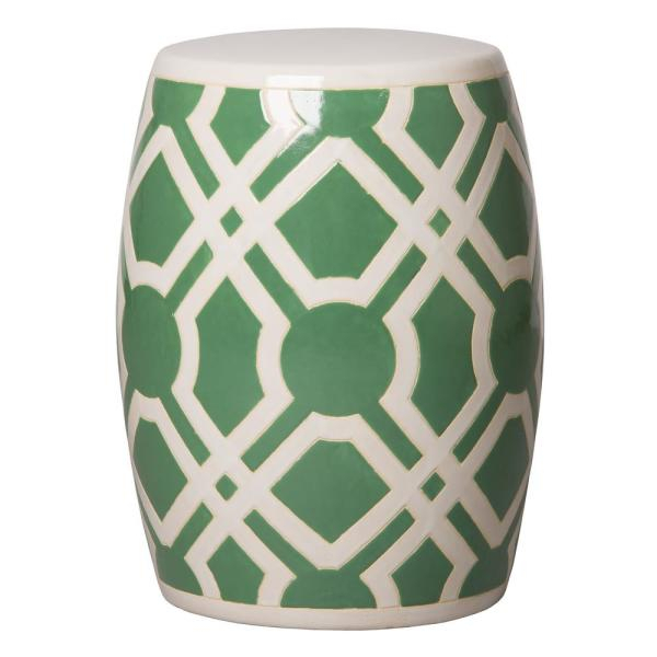 Labyrinth Meadow Green And White Ceramic Garden Stool Within Ceramic Garden Stools (View 5 of 20)