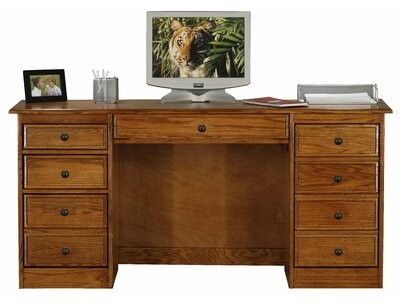 Lapierre Double Pedestal Solid Wood Executive Desk Finish: Unfinished For Lucille Timberland Wooden Garden Benches (View 9 of 20)