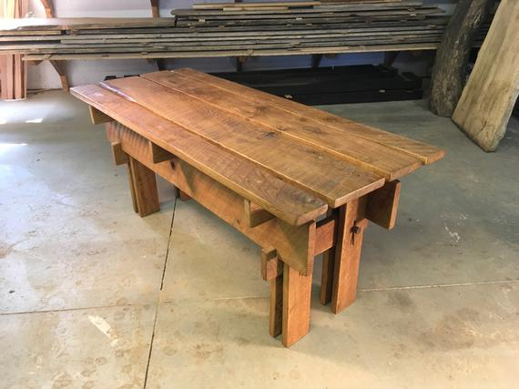 Oak Japanese Style Bench | Garden Bench | Solid Reclaimed Wood | No Fasteners | Vintage Nail Pins | All Joinery | Japanese Furniture | Cabin Throughout Walnut Solid Wood Garden Benches (View 17 of 20)