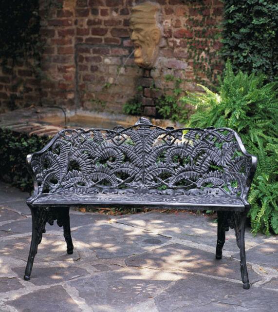 Outdoor Patiofurniture Cast Aluminum Fern Victorian Garden Bench Antique Repro (View 8 of 20)