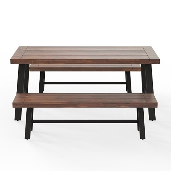 Outdoor Table And Bench Set , Solid Wood, Walnut Pertaining To Walnut Solid Wood Garden Benches (View 13 of 20)