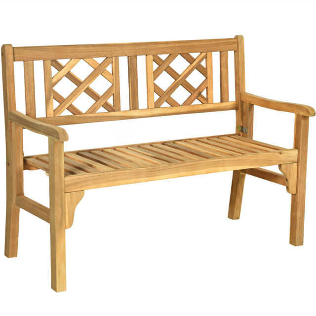 Patio Outdoor Acacia Wood Bench Folding Loveseat Chair Garden Furniture Teak Intended For Hampstead Teak Garden Benches (View 8 of 20)