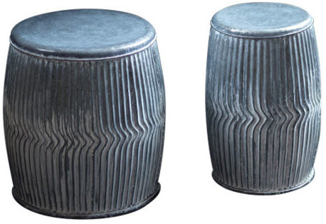 S/2 Galvanized Dolly Stool Planters For Bracey Garden Stools (View 11 of 20)