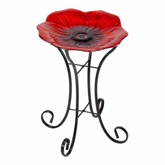 Shimmering Poppy Glass Birdbath – Large Regarding Wilde Poppies Ceramic Garden Stools (View 12 of 20)