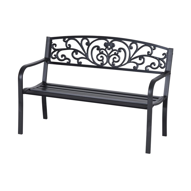 Popular Photo of Strasburg Blossoming Decorative Iron Garden Benches