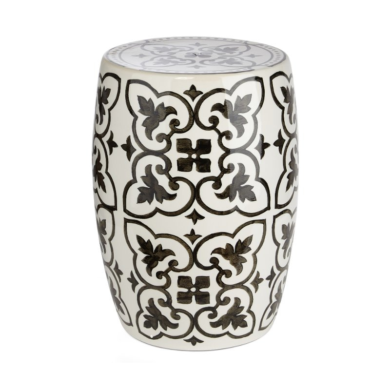 White And Black Ceramic Garden Stool Throughout Ceramic Garden Stools (View 6 of 20)