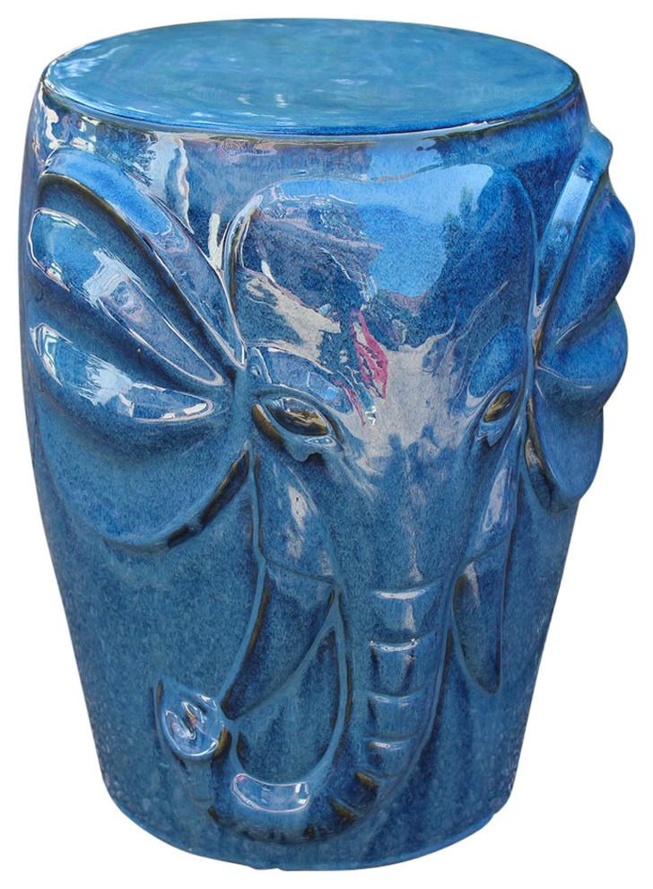 Wild Elephant Drum Ceramic Garden Stool, Navy Blue Pertaining To Wilde Poppies Ceramic Garden Stools (View 4 of 20)
