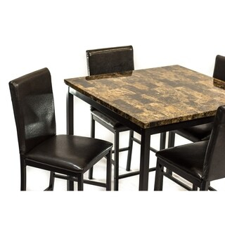 Inspiration about 2020 Desloge Counter Height Trestle Dining Tables Within Shop Della Brown Faux Marble Counter Height Dining Table (#14 of 20)
