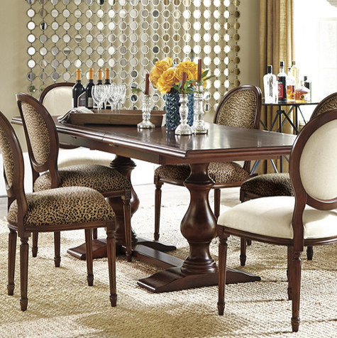 Favorite Vendome Double Pedestal Table – Traditional – Dining Pertaining To Sevinc Pedestal Dining Tables (View 20 of 20)