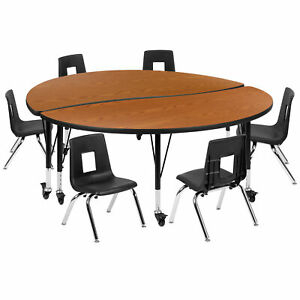 """Flash Furniture Circle Laminate Table Set Xu Grp 12ch A60 With Regard To Trendy 72"""" L Breakroom Tables And Chair Set (View 11 of 20)"""