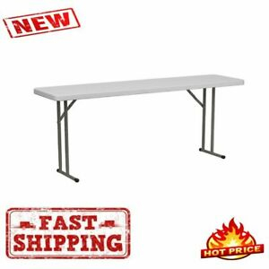 """Most Recent Furniture 18"""" X 72"""" Plastic Folding Training Table White Pertaining To 72"""" L Breakroom Tables And Chair Set (View 6 of 20)"""