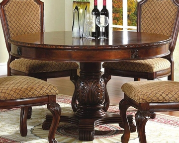 Most Recent Jazmin Pedestal Dining Tables Pertaining To *round Pedestal Dining Table In Classic Cherry Mcfd5006  (View 10 of 20)