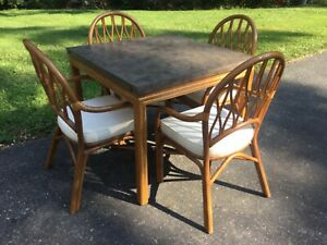 """Popular Vintage Walter Of Wabash Bamboo Table & 4 Chairs 36 Regarding 72"""" L Breakroom Tables And Chair Set (View 2 of 20)"""
