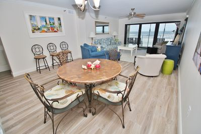 Well Liked Family Friendly Direct Oceanfront Beach Condo With Pertaining To Yaqub 39'' Dining Tables (View 8 of 20)