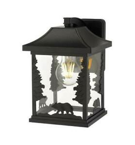 """10"""" Black Outdoor Bear Silhouette Wall Light Clear Glass Inside Vendramin Black Glass Outdoor Wall Lanterns (View 13 of 20)"""