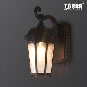 1lt Outdoor Wall Sconce Lantern Metal Seeded Glass Patio Intended For Palma Black/clear Seeded Glass Outdoor Wall Lanterns (View 14 of 20)