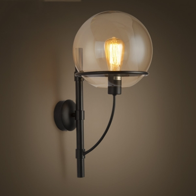 21'' H Clear Glass 1 Light Led Wall Sconce With Globe With Roden Black 3 Bulb Outdoor Wall Lanterns (View 4 of 20)