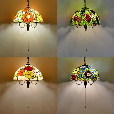 3 Lights Flower/grape Suspension Light Rustic Stained Intended For Gillian 3 – Bulb Beveled Glass Outdoor Wall Lanterns (View 20 of 20)