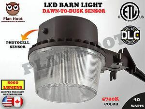 40w Dusk To Dawn Led Barn Light Etl Dlc Farm Garage With Regard To Lainey Outdoor Barn Lights (View 17 of 20)