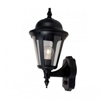 Ansell Latina 42w E27 Pir Wall Lantern Black At Uk Intended For Garneau Black Wall Lanterns (View 6 of 20)