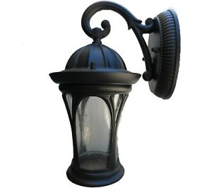 Aroyal 1 Light Black Outdoor Wall Lantern Sconce Exterior Inside Palma Black/clear Seeded Glass Outdoor Wall Lanterns (View 16 of 20)