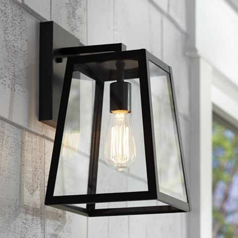 """Arrington 13"""" High Glass And Mystic Black Outdoor Wall Inside Walland Black Outdoor Wall Lanterns (View 18 of 20)"""
