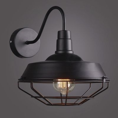 Barn Shade 1 Light Wall Sconce With Wire Guard In Matte Throughout Rickey Black Outdoor Barn Lights (View 19 of 20)