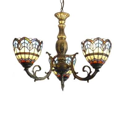 Baroque Tiffany Style 3 Light Inverted Stained Glass Shade Throughout Gillian 3 – Bulb Beveled Glass Outdoor Wall Lanterns (View 8 of 20)