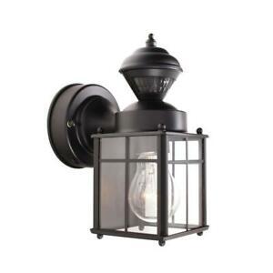 Bayside Mission 150° Black Motion Sensing Outdoor Wall Inside Garneau Black Wall Lanterns (View 13 of 20)
