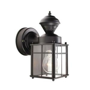 Bayside Mission 150° Black Motion Sensing Outdoor Wall Intended For Socorro Black Outdoor Wall Lanterns (View 13 of 20)