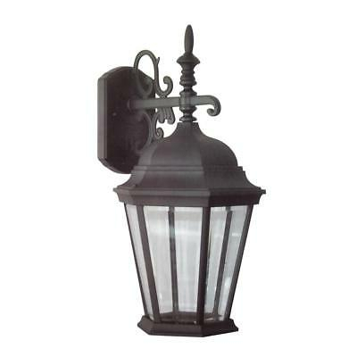 Bel Air Lighting 1 Light Black Outdoor Wall Mount Lantern Within Faunce Beveled Glass Outdoor Wall Lanterns (View 12 of 20)