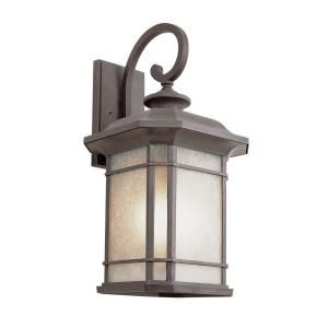 Bel Air Lighting 1 Light Fluorescent Outdoor Rust With Tea Within Faunce Beveled Glass Outdoor Wall Lanterns (View 10 of 20)