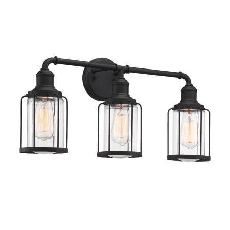 "Bellevue Mvbf7124etblk Earth Black Duplin 3 Light 24"" Wide For Ainsworth Earth Black Outdoor Wall Lanterns (View 3 of 20)"
