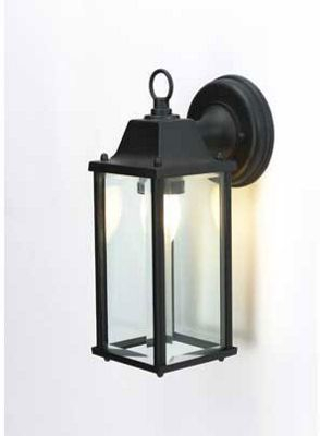 Bevelled Glass Outdoor Lantern – Black – 15cm | Homebase With Payeur Hammered Glass Outdoor Wall Lanterns (View 3 of 20)