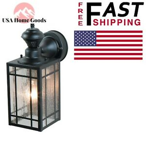 Black Motion Activated Outdoor Wall Mount Lantern 1 Light Intended For Rockmeade Black Outdoor Wall Lanterns (View 13 of 20)