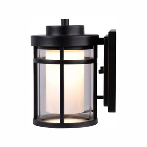 Black Outdoor Led Wall Lantern Sconce Black Finish With Inside Payeur Hammered Glass Outdoor Wall Lanterns (View 10 of 20)