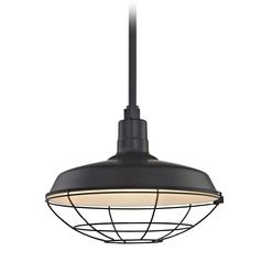 Black Pendant Barn Light With 16 Inch Caged Shade At Throughout Rickey Black Outdoor Barn Lights (View 17 of 20)