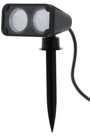 Black Polycarbonate Twin Led Garden Spike Light 93385 Regarding Feuerstein Black 16'' H Outdoor Wall Lanterns (View 2 of 20)