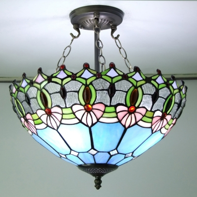 Blue Stained Glass 16 Inch Tiffany 3 Light Semi Flush With Regard To Verne Oil Rubbed Bronze Beveled Glass Outdoor Wall Lanterns (View 17 of 20)