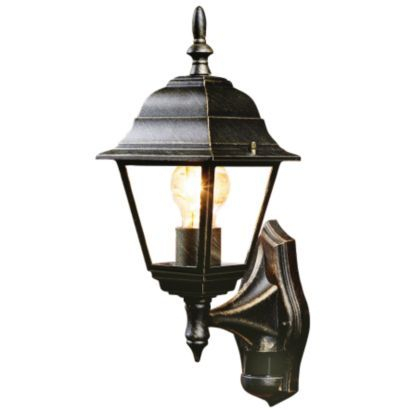 B&q Penarven Black Gold Effect 4 Sided Lantern Regarding Walland Black Outdoor Wall Lanterns (View 15 of 20)