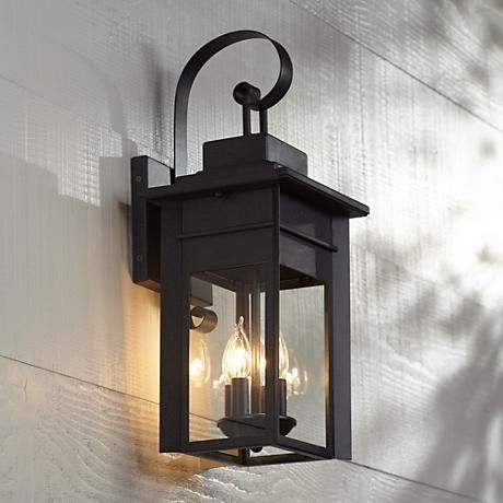 """Bransford 21"""" High Black Specked Gray Outdoor Wall Light Within Garneau Black Wall Lanterns (View 2 of 20)"""