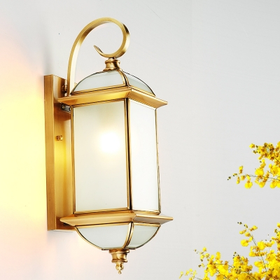 Brass Curly Arm Wall Sconce Classic Single Gold Finish In Wrentham Beveled Glass Outdoor Wall Lanterns (View 1 of 20)