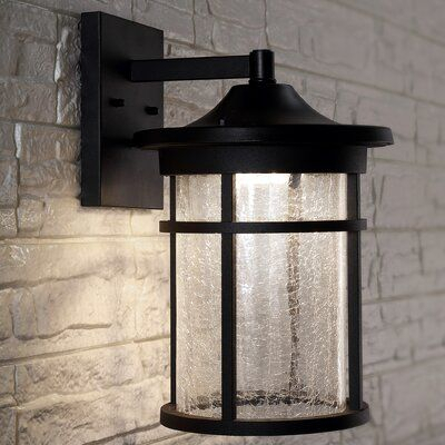 Breakwater Bay Austen Crackled Glass/metal Led Outdoor Within Brook Black Seeded Glass Outdoor Wall Lanterns With Dusk To Dawn (View 7 of 20)