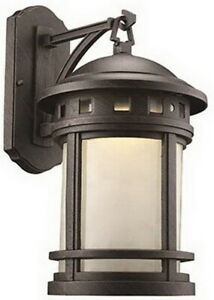 Bronze Rust With Frosted Glass Led Outdoor Wall Lantern With Regard To Meunier Glass Outdoor Wall Lanterns (View 11 of 20)