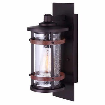 Canarm Brett Single Light Outdoor Wall Lights | Outdoor In Palma Black/clear Seeded Glass Outdoor Wall Lanterns (View 19 of 20)