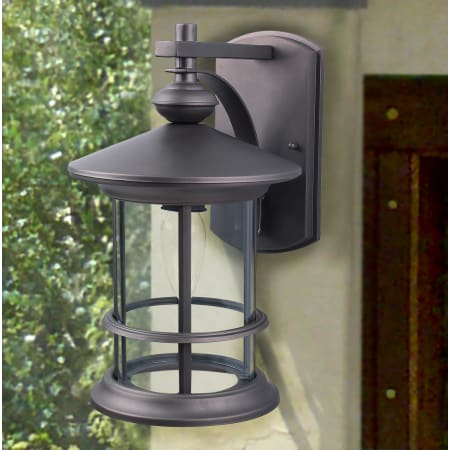 """Canarm Iol124bk Black Treehouse Single Light 13"""" High With Brierly Oil Rubbed Bronze/black Outdoor Wall Lanterns (View 10 of 20)"""